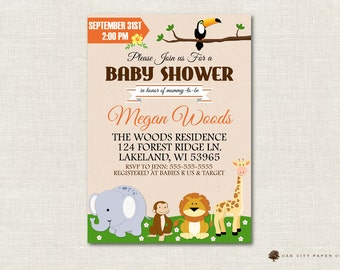 Safari Baby Shower Invitation, Jungle Shower Invitation, Safari Invitation, Baby Animal Baby Shower Invite, DIY, Instant Download, Editable