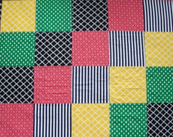 Primary Colors - Trains - Baby Blanket - Crib Quilt - Play mat - Gift #219