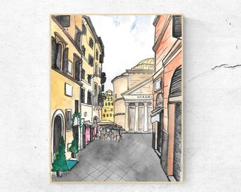Digital Download, Watercolor, Rome, Pantheon, Roman Holiday, Italy