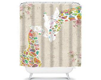 Giraffe Shower Curtain, Shabby Chic Shower Curtain, Kids Shower Curtain,  Shabby Chic Bathroom Decor, Kids Bathroom Decor, Rose Flower Decor