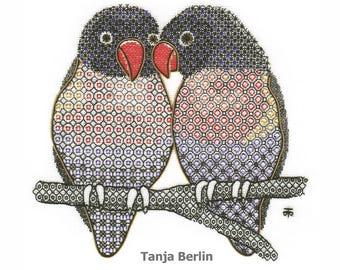 Hand Embroidery Kit - Blackwork Lovebirds Embroidery Kit - Just the Two - Blackwork Hand Embroidery Kit