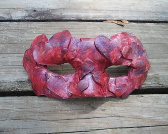Valentine, Candy colored, red hearts mask, Mardi Gras Mask, Costume mask, Masquerade ball,