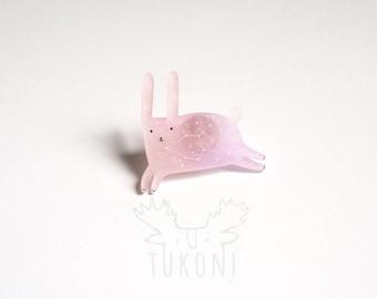 rabbit brooch, pink rabbit brooch, constellation jewelry, rabbit constellation brooch, Lepus constellation, hare brooch, pink hare, animal