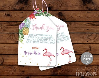 Flamingo Thank You Tags - Edit & Print - Pineapple Aloha Tropical Cards Matching INSTANT DOWNLOAD Luau Birthday Gifts Editable Printable