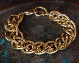 "Vintage Oscar de la Renta 8"" Gold Tone Bracelet"