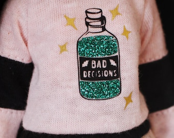 RESERVED - Bad decisions - Long sleeved sweater with sparkling potion for Blythe - by Icantdance