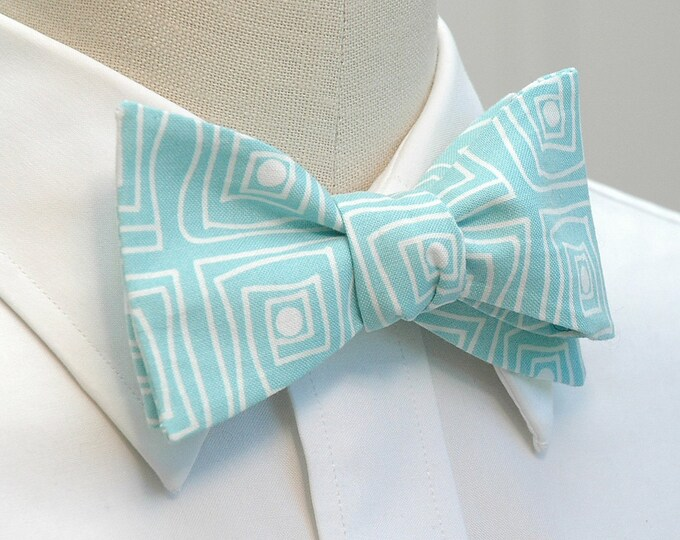 Men's Bow Tie, aqua/white squares bow tie, robin's egg blue bow tie, wedding party bow tie, groom bow tie, groomsmen gift, pastel bow tie