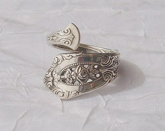 Vintage Wallace Rose Point  Sterling Silver Spoon Ring    dmfsparkles
