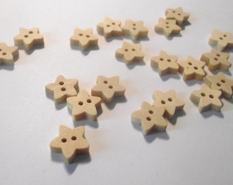 Wooden star buttons set of 12