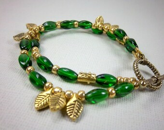 Green and Gold Bracelet, St Patrick's Day,  Two Strand Bracelet, Gold Leaves, Irish, Glass Beads