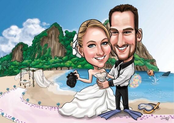 Benutzerdefinierte Hochzeit Karikaturen / Einladung/speichern