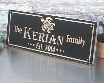 Custom Engraved Family Name Wood Sign, Beach House sign, Personalized Wooden Plaque, Rustic Wedding Sign, Benchmark Signs, Maple TU