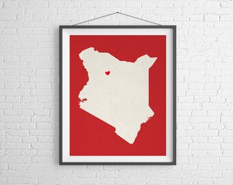 Custom Kenya Silhouette Print, Customized Country Map Art, Personalized Gift, Kenya Art, Heart Map, Kenya Map, Love Map, Home Country