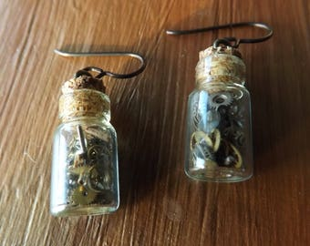 Steampunk bottle earrings with real watch parts and niobium ear wires, jar earrings, glass earrings, cyberpunk earrings, watchparts earrings