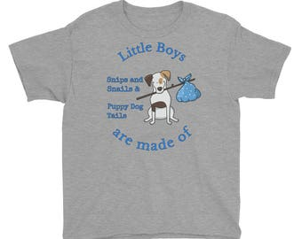 Youth Little Boys are made of Snips and Snails & Puppy Dog Tails Blue Short Sleeve T-Shirt