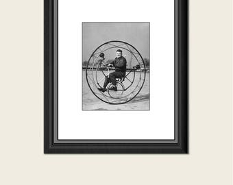 SALE Vintage Photo Bike, Funny Bicycle Photo, Old Bike Picture, Antique Printable, Vintage Wall Decor, 5x7, Man Inside Bike, 25% off