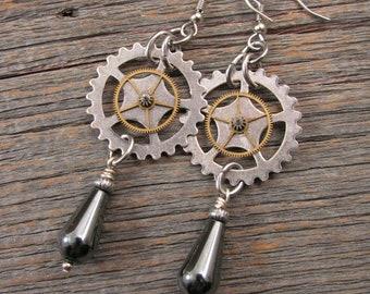 Steampunk Earrings - Industrial Style - Mixed Metal Watch Gear - Clock Gear & Hemalyke Teardrop Dangle Earrings