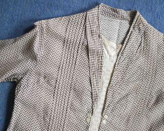 Antique Early 1920s Cotton Day Dress - Pattern Drop Waist Dress - Lace Paneled Dress