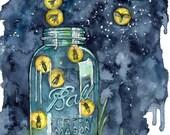 Watercolor Firefly Jar Pa...