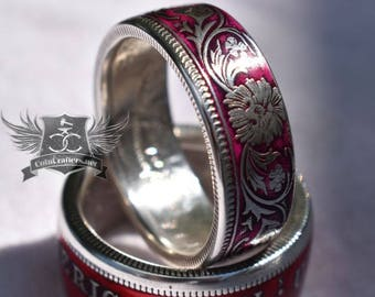 Coin Ring - India - 1800's One Rupee - Women's Ring - Silver Ring - Coin Jewelry