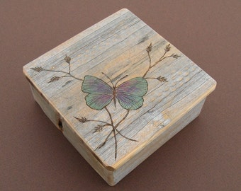 Barnwood BUTTERFLY BOX handmade from reclaimed weathered wood - rustic refined