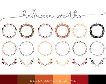 Halloween Wreath & Laurel Clip Art - Vector Clipart