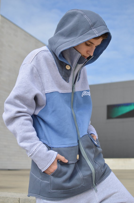 Multicolor big warm colored coat zip sweatshirt handmade for long hoody woman Hoodie hood man gray oversized or cotton blue jacket r04qr