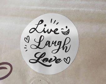 """Transparent or Silver Foil """"Live Laugh Love"""" Labels Stickers Seals #R4021"""