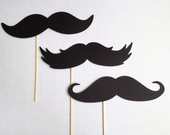 """3 - 10"""" Oversized Mustaches - Photo Booth Props - Photo Booth Mustaches - Mustache Photobooth - Big Mustaches"""
