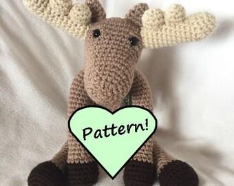 Enzo's Moose crochet pattern, moose crochet plush pattern, stuffed animal pattern, amigurumi pattern