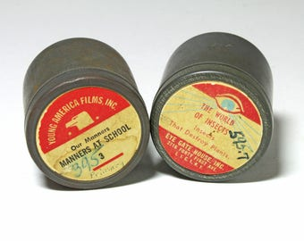 Vintage Film Strip Mental Containers - circa 1950's