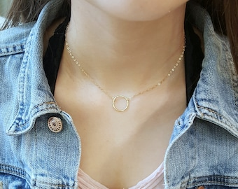 Dainty Karma Choker Necklace • Gold Silver Delicate Circle, Open Circle Choker • 14k Gold Fill, Sterling Silver