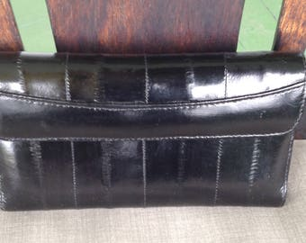 Vintage black shiny eelskin french wallet