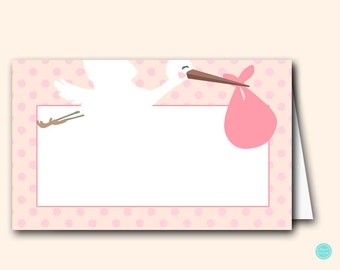 Pink Stork Baby Shower Labels Cards, Stork Baby Shower Decorations, Tent Style, Decoration, Food Labels, Baby Shower Labels TLC458P