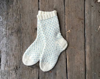 Blue Polka Dot Hand Knitted Wool Socks