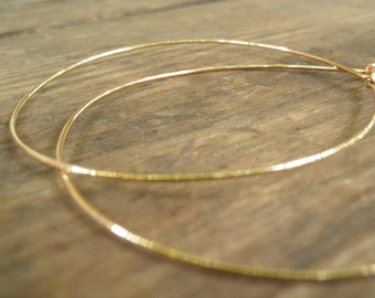 Huge XXXL Gold Hoops 7 cm / 3 inch Earrings, Simple XXXL Large Earrings, Bohemian Jewelry, Hand Crafted Gold Filled Modern Classic Design