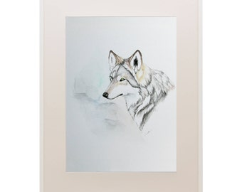 Mexican Wolf Unframed Original Art Multimedia Watercolor 5 x 7 Gift Gift for Her Gift for Him