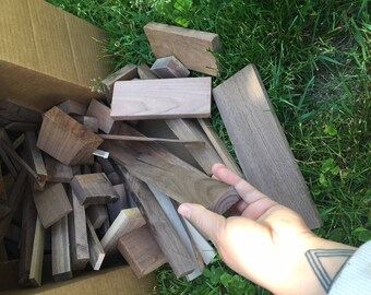 Walnut Wood Scrap Pieces - 18lbs 18 Pounds Scraps Cutoffs Planed Lumber Wood Supplies