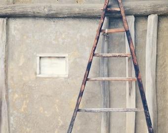 Step Ladder Photography, Ladder Print, Farmhouse Decor, Barn Wall Art, Wooden Step Ladder Decor, Rustic Home Decor,  Fit Up Decoration.