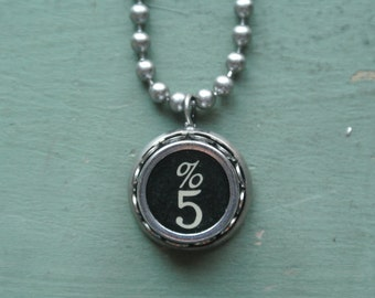 """Typewriter Number 5 Necklace- Vintage, Recycled UPcycled, Authentic, Number """"5"""" Typewriter Key, 2-9 and A-Z available By UPcycled Works!!"""