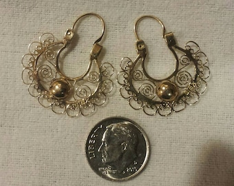 Vintage Antique Mexican 10k Gold 10kt Gold Filigree Medium Hoop Earrings