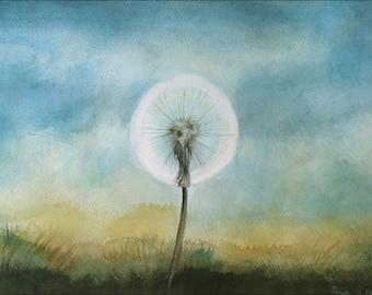 Dandelion Painting, Original Watercolor Painting, Fine Art, White Wild Flower Painting, 10 x 14 inch, Dreamy Dandelion, European Art