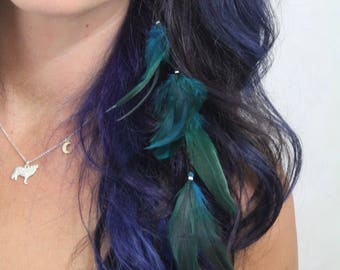 Turquoise Feather Hair Extension Clip - Teal Rooster Feather Clip Hair Extension