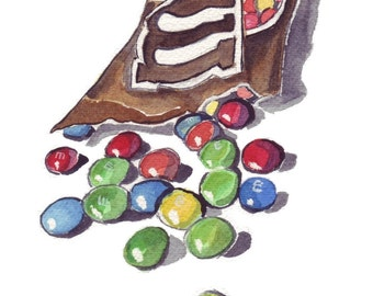 Watercolor Painting - M and Ms Art, Candy Watercolor Art Print, 5x7