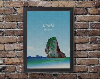 Krabi, Thailand, Illustration, Digital Download Printable, Image For Wall Decoration, Prints