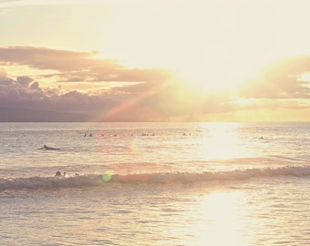 Surfers Sunset Color Photo Print { clouds, ocean, starburst, rays, sky, yellow, glow, maui, wall art, macro, nature & fine art photography }