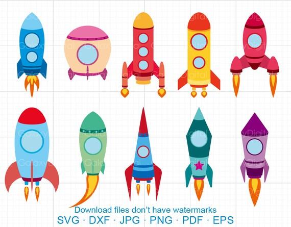 Space Rocket Clipart SVG Space Ship SVG DXF Silhouette Cricut