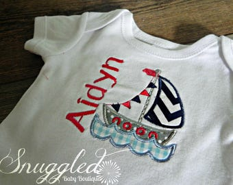 Personalized Sailboat Onesie