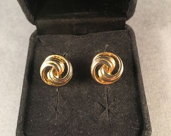 Vintage Gold Love Knot Clip on Earrings, Small Round Gold Clip on Earrings .5 Inches Round