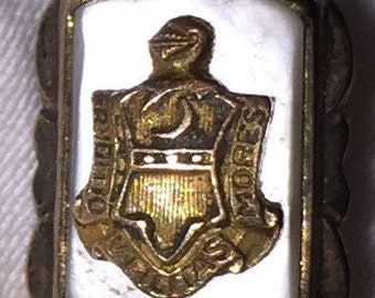 Vintage Gold Heraldic Crest Lapel Pin Gold Frat Pin Vintage 10K Gold Lapel Pin Miniature Brooch Knight in Armor Mother of Pearl Brooch